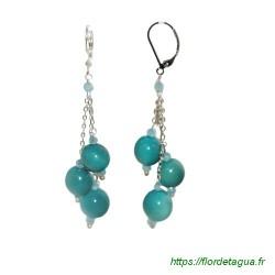 Boucles d'Oreilles divine turquoise en tagua