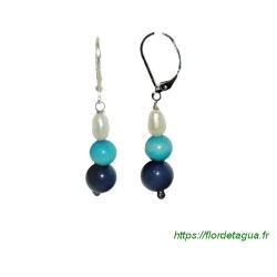 Boucles d'oreilles Lila turquoise et bleu marine en tagua