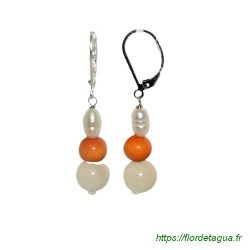 Boucles d'oreilles Lila orange et ivoire en tagua