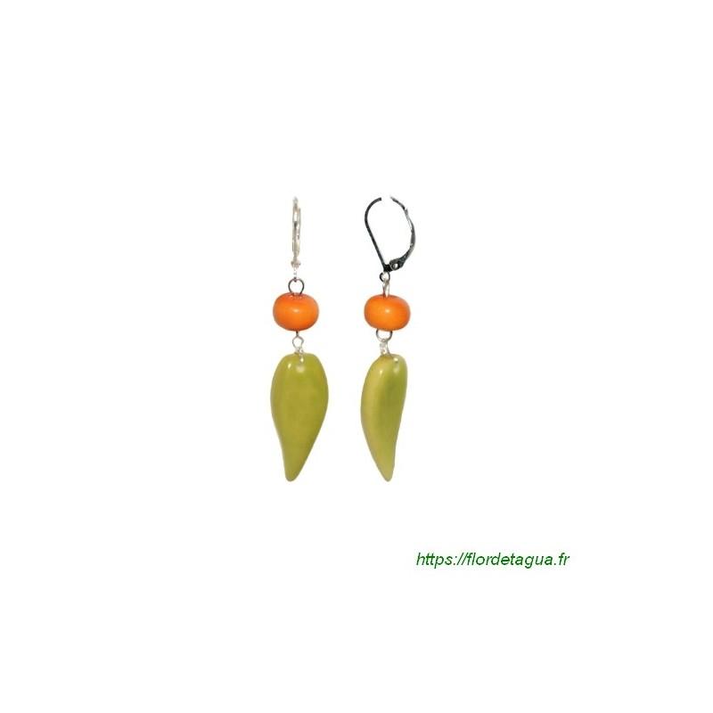 Boucles d'oreilles Flora orange et vert citron en tagua