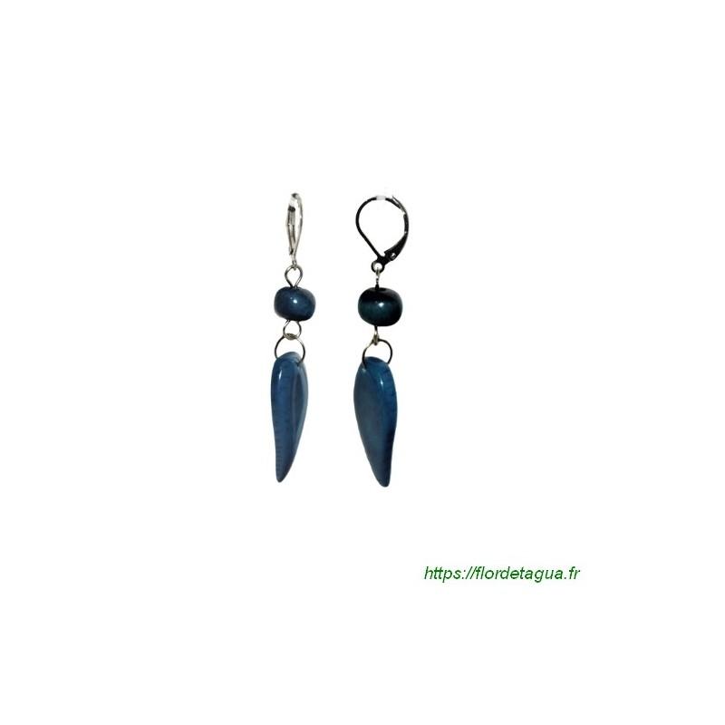 Boucles d'oreilles Flora bleu marine en tagua