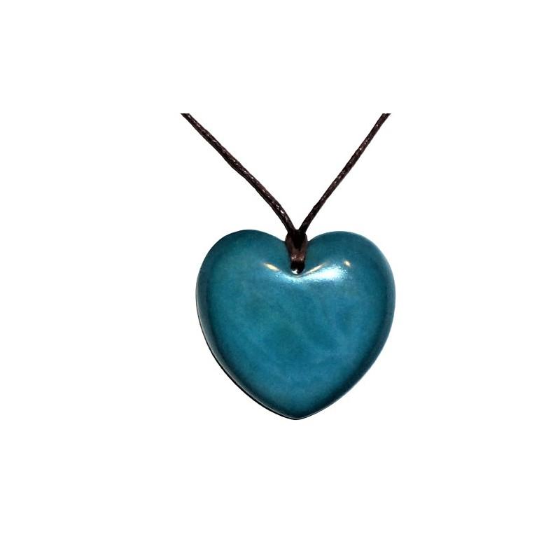 Pendentif Cœur Turquoise en tagua